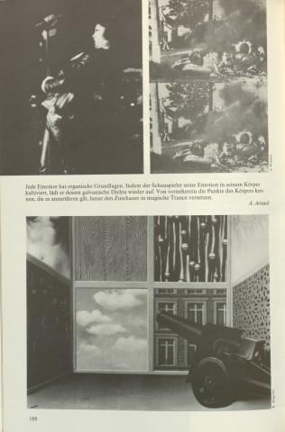 S. 188 aus »Nacht im Feuer«: Zitat von Antonin Artaud und Bilder von Andy Warhol und René Magritte (zum Vergrößern Bild anklicken)