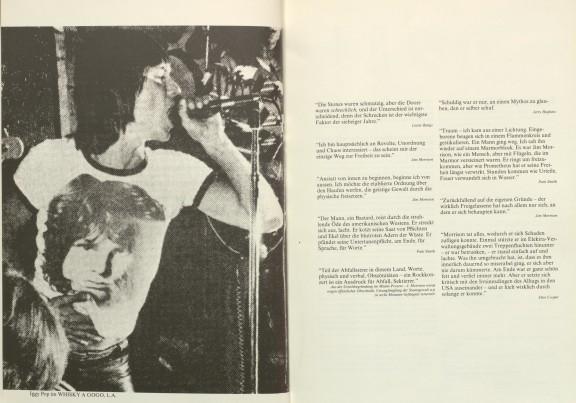 S. 8/9 aus »Nacht im Feuer«: Iggy Pop mit Morrison T-Shirt / verschiedene Zitate (zum vergrößern Bild anklicken)